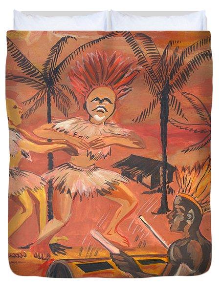Duvet Cover featuring the painting Bikutsi Dance From Cameroon by Emmanuel Baliyanga