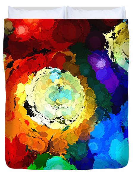 Billiard Balls Abstract Digital Art Duvet Cover by Vizual Studio