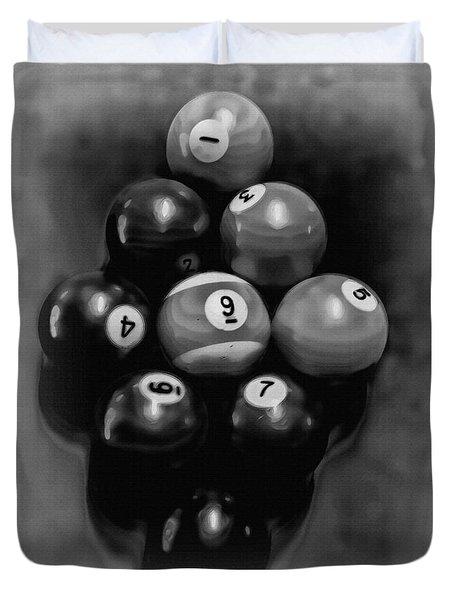 Billiards Art - Your Break - Bw  Duvet Cover by Lesa Fine