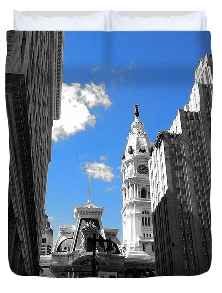 Duvet Cover featuring the photograph Billy Penn Blue by Photographic Arts And Design Studio