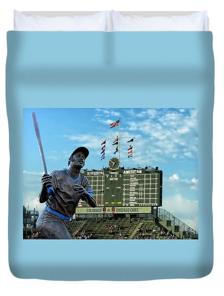 Billy Williams Chicago Cub Statue Duvet Cover by Thomas Woolworth