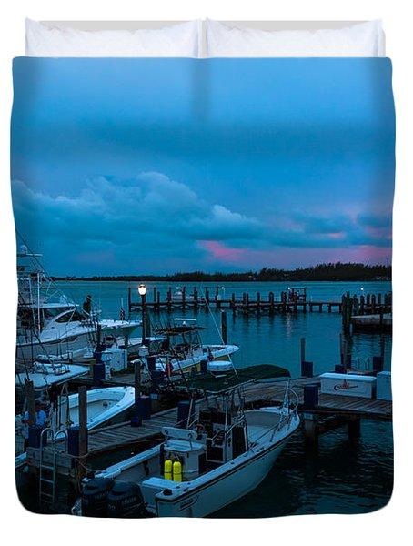Bimini Big Game Club Docks After Sundown Duvet Cover