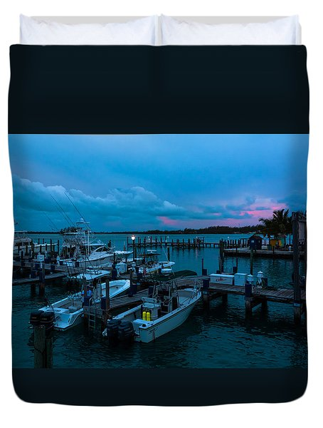 Bimini Big Game Club Docks After Sundown Duvet Cover