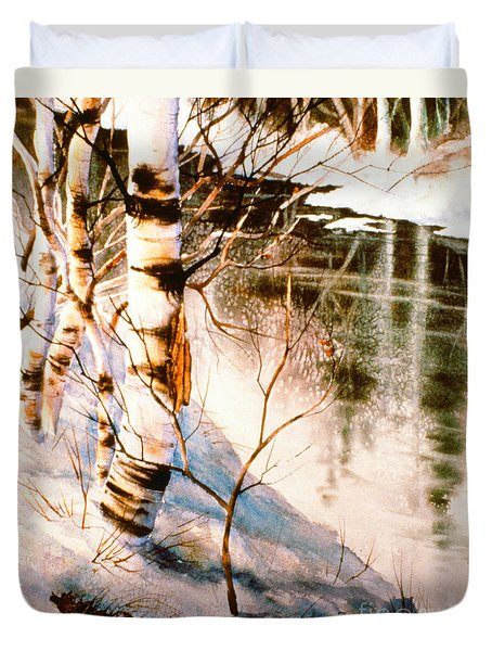 Duvet Cover featuring the painting Birch By Stream by Teresa Ascone