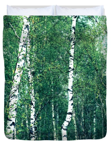 Birch Forest - Green Duvet Cover by Hannes Cmarits