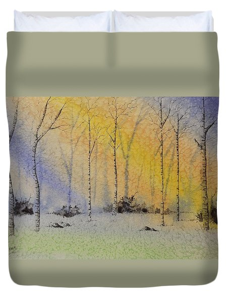 Duvet Cover featuring the painting Birch In Blue by Richard Faulkner