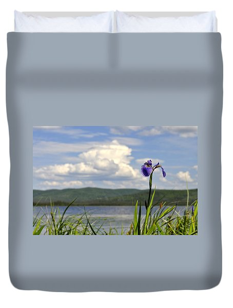 Duvet Cover featuring the photograph Birch Lake Iris by Cathy Mahnke