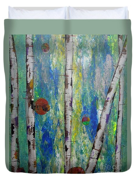 Birch - Lt. Green 4 Duvet Cover by Jacqueline Athmann