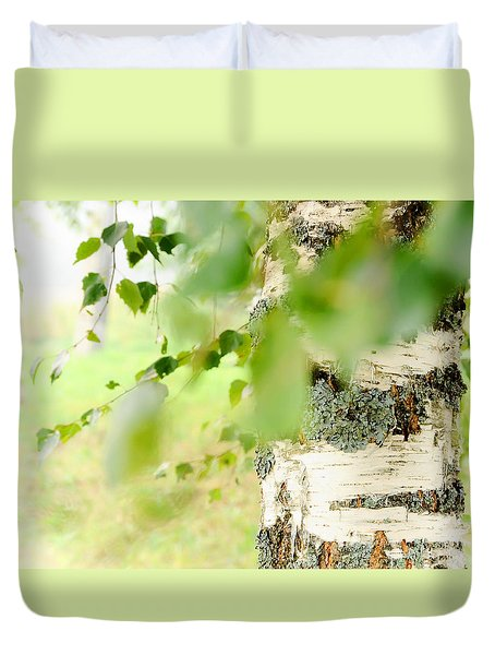 Birch Tree. The Soul Of Russian Nature Duvet Cover by Jenny Rainbow
