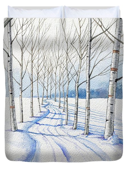 Birch Trees Along The Curvy Road Duvet Cover