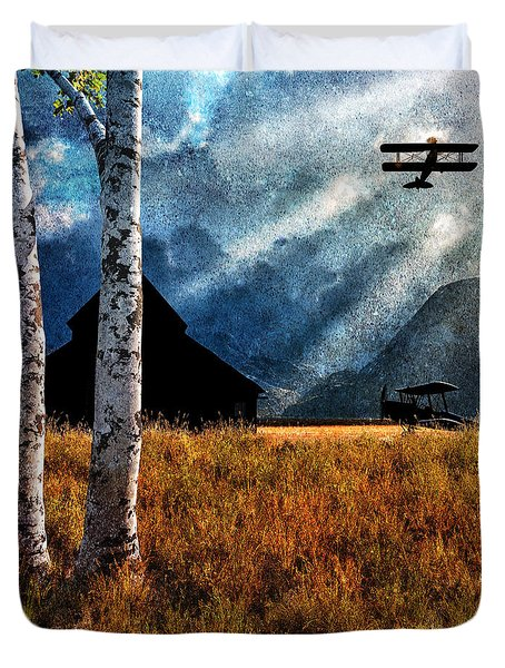Birch Trees And Biplanes  Duvet Cover by Bob Orsillo