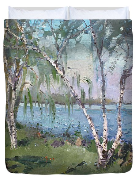 Birch Trees By The River Duvet Cover by Ylli Haruni