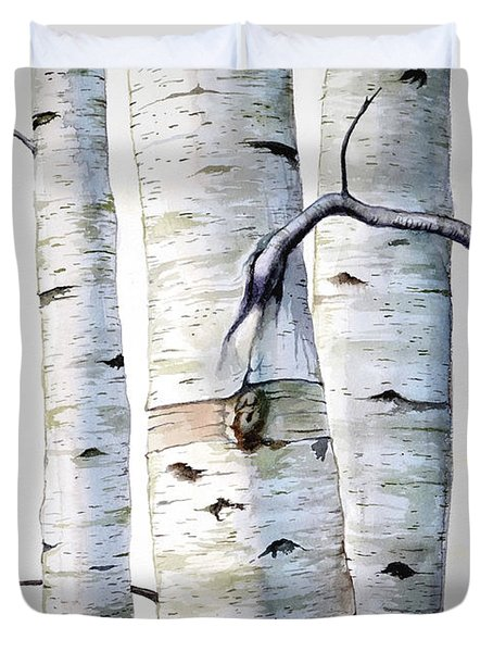 Birch Trees In Watercolor Duvet Cover
