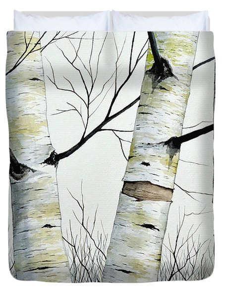 Birch Trees In The Forest In Watercolor Duvet Cover