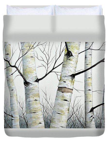 Birch Trees In The Forest By Christopher Shellhammer Duvet Cover by Christopher Shellhammer