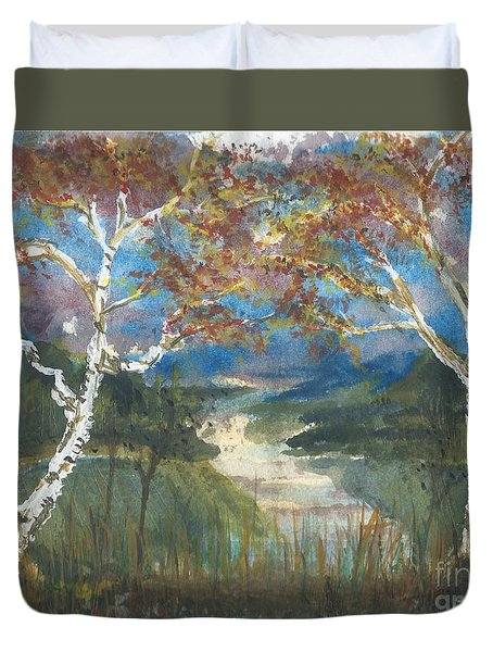 Birch Trees On The Ridge  Duvet Cover