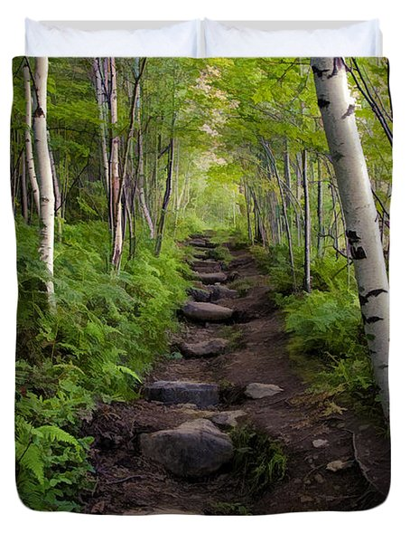 Birch Woods Hike Duvet Cover