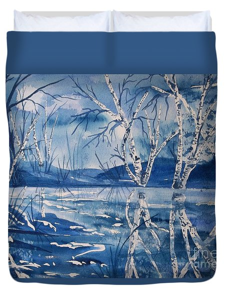 Birches In Blue Duvet Cover by Ellen Levinson