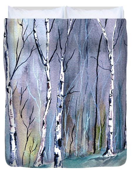 Birches In The Forest Duvet Cover