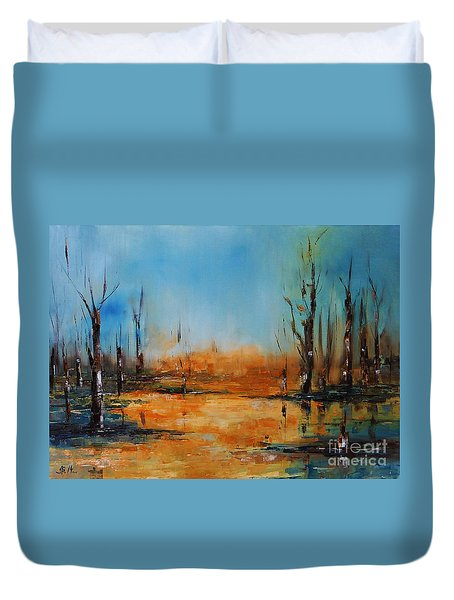 Birches Pond Duvet Cover