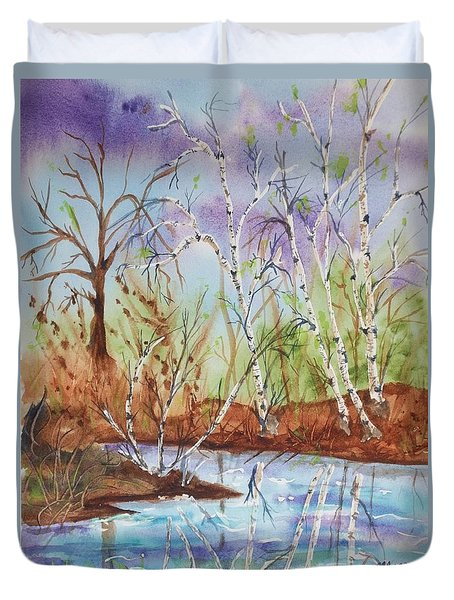 Duvet Cover featuring the painting Birches Reflected In Kaaterskill Creek by Ellen Levinson