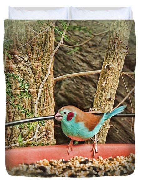 Bird And Feeder Duvet Cover by Joan  Minchak