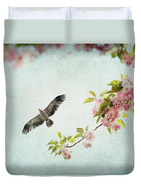 Duvet Cover featuring the photograph Bird And Pink And Green Flowering Branch On Blue by Brooke T Ryan