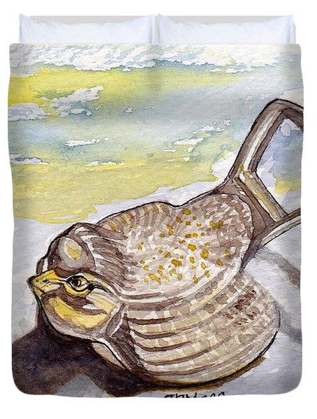 Bird Flies On Fridays Duvet Cover by Julie Maas