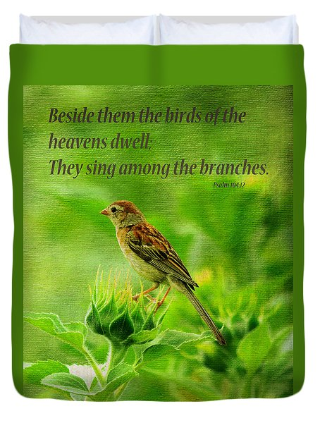 Bird In A Sunflower Field Scripture Duvet Cover by Sandi OReilly