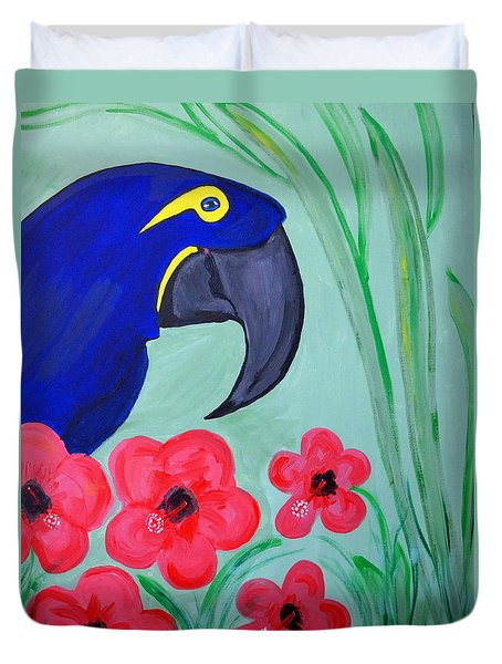 Duvet Cover featuring the painting Bird In Paradise   by Nora Shepley