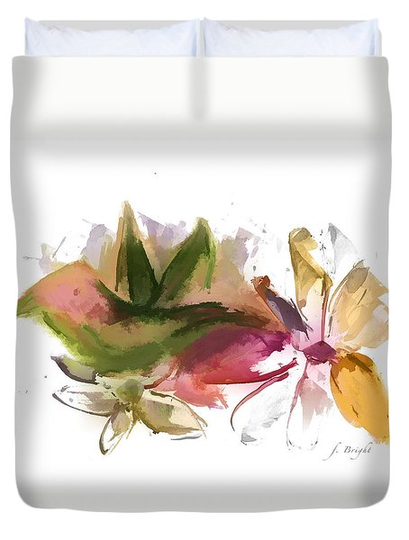 Duvet Cover featuring the digital art Bird In The Flowers by Frank Bright