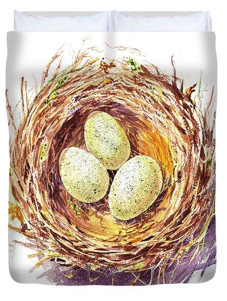 Bird Nest A Happy Trio Duvet Cover