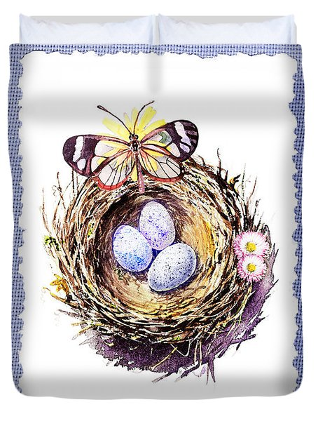 Bird Nest With Daisies Eggs And Butterfly Duvet Cover