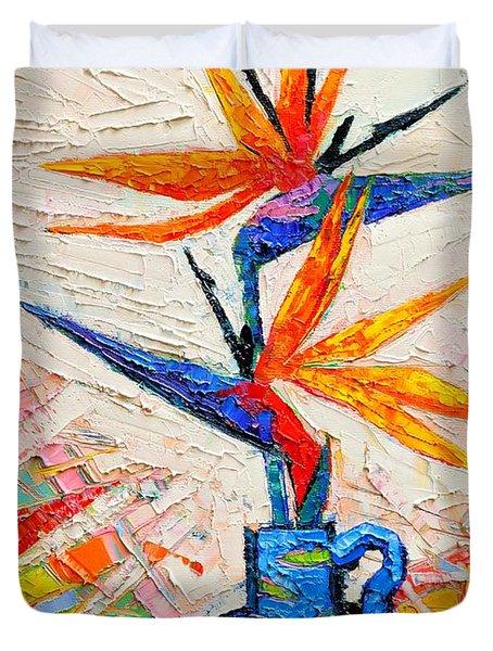 Bird Of Paradise Flowers Duvet Cover
