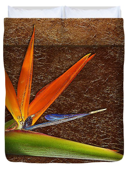 Bird Of Paradise Gold Leaf Duvet Cover