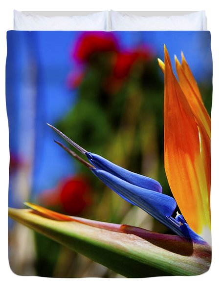 Duvet Cover featuring the photograph Bird Of Paradise Open For All To See by Jerry Cowart