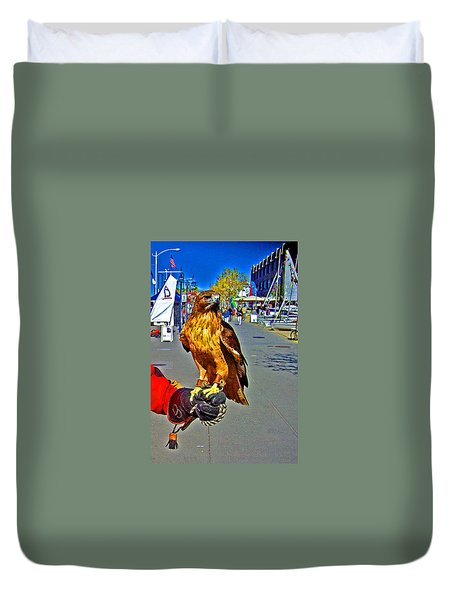 Bird Of Prey At Boat Show 2013 Duvet Cover by Joseph Coulombe