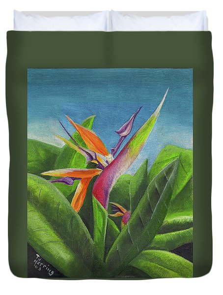 Hawaiian Bird Of Paradise Duvet Cover