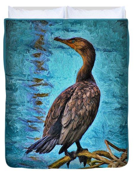 Bird On A Limb Duvet Cover by Deborah Benoit