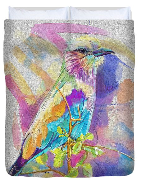 Bird On A Twig Duvet Cover by Catf