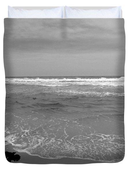 Bird On Kovalam Beach Duvet Cover