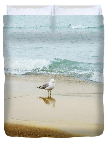 Duvet Cover featuring the photograph Bird On The Beach by Milena Ilieva