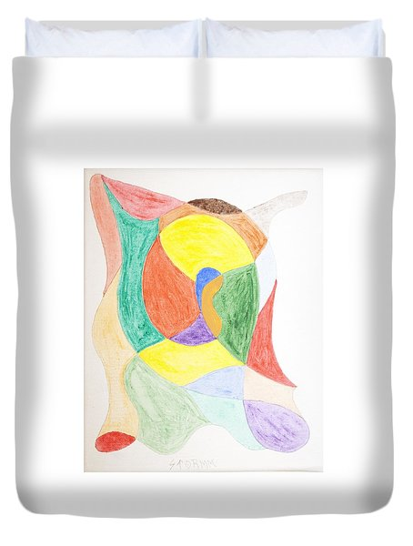 Duvet Cover featuring the painting Duck by Stormm Bradshaw