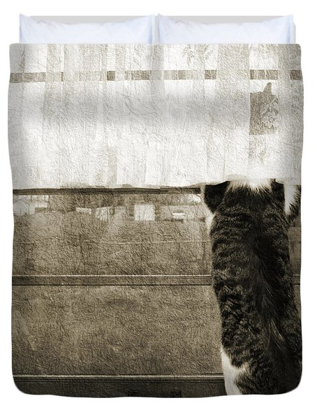 Bird Watching Kitty Cat Bw Duvet Cover by Andee Design