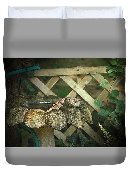 Duvet Cover featuring the photograph Birdbath Rendezvous by Margie Avellino