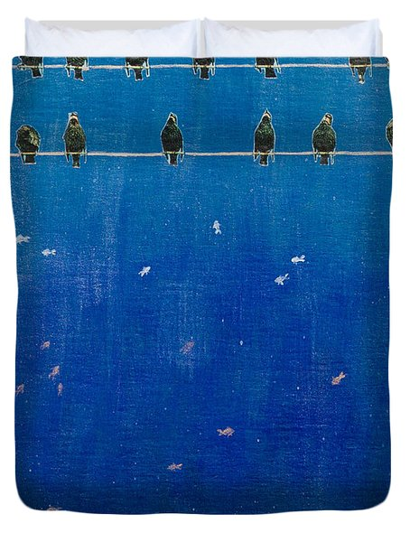 Birds And Fish Duvet Cover by Stefanie Forck