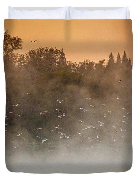 Birds And The Fog  Duvet Cover