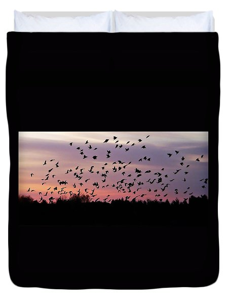 Duvet Cover featuring the photograph Birds At Sunrise by Aimee L Maher Photography and Art Visit ALMGallerydotcom