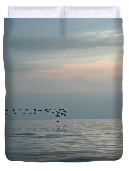 Birds At Sunset In Sister Bay Duvet Cover