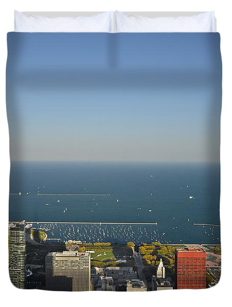 Bird's Eye View Of Chicago's Lakefront Duvet Cover by Christine Till
